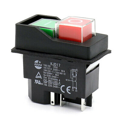 2Pc KEDU KJD6 5E4 250V 4Pins Drill Electromagnetic Waterproof Pushbutton Switch
