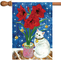Toland - Amaryllis Kitty - Red Flower White Cat Bell House Flag