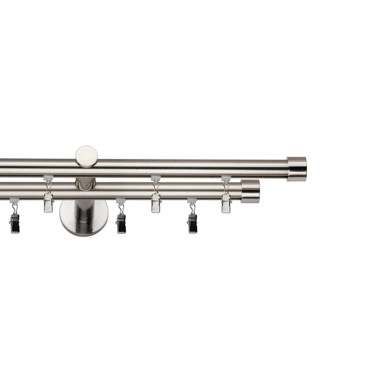 Gardinenstange Innenlauf 19mm, 1-läufig, 2-läufig Edelstallook mit Klammern    2  | Kunde zuerst  ce90c5