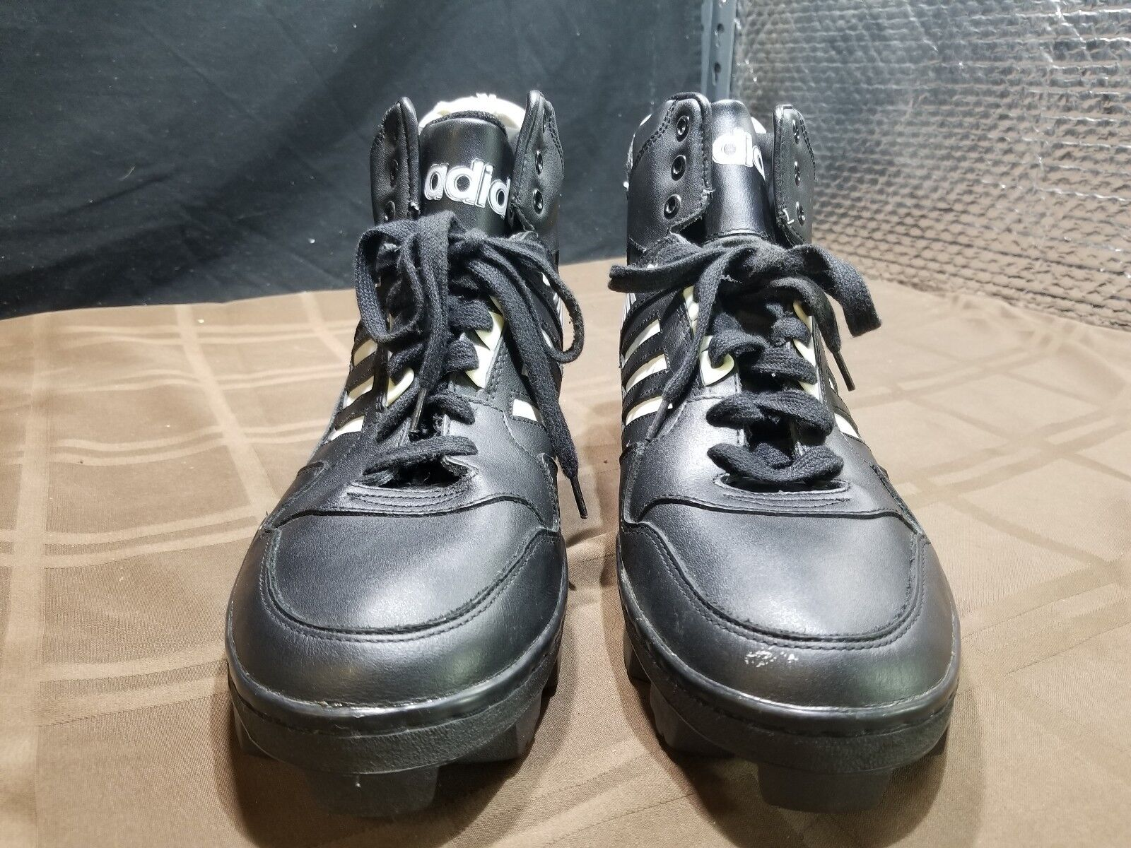 oldtimer - adidas fußballs stollen weiß 1989 größe 11 - weiß stollen auf schwarz 4060c3