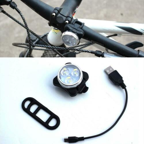 Bicycle Front Rear Tail Bike Light USB Charge 4 Modes 3 LEDs Headlight Lamp TR