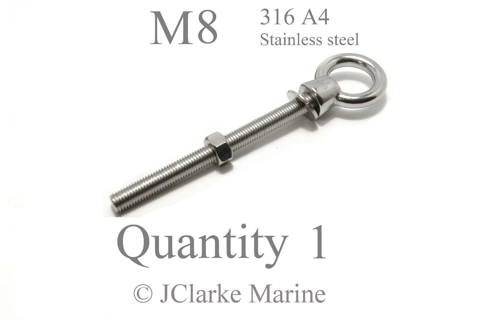 M12 x 120mm A4 316 Marine Grade Stainless Steel Lifting Eye Bolt Longshank Nut