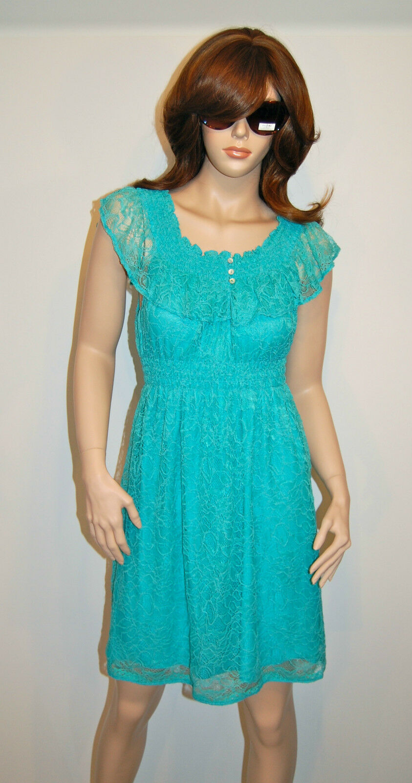 New  Sophie Max Serena Turquoise Blau Lace Sundress Dress Sleeveless S Small