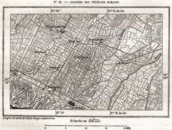 Cartina: Colonie Veterani Romani: Massa Lombarda,lugo,mordano,imola,faenza. 1876