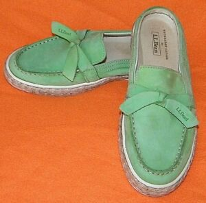 LL-Bean-Leather-Shoes-Slip-on-Slides-Mules-Sunwashed-Canvas-Green-WOMEN-039-S-6-5