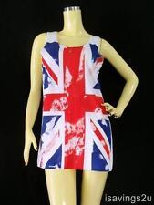 UNION JACK Tank Top, British PUNK UK Flag White Cotton SINGLET Tshirt Mini Dress