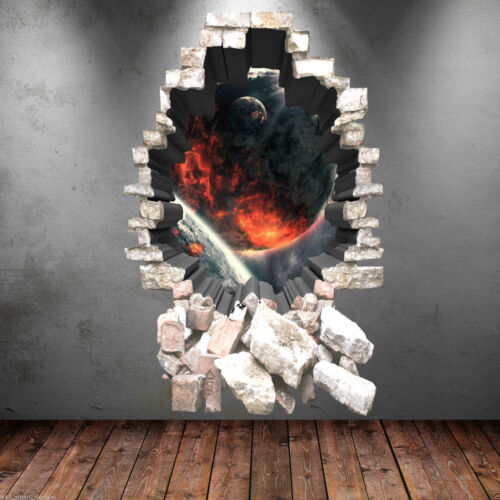 3D Full Colour Space Fire Planets Wall Art Sticker Boy Decal Graphic WSD280