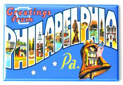 "Greetings from Philadelphia Pennsylvania FRIDGE MAGNET travel souvenir /""style A/"""