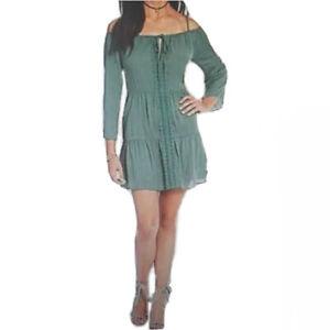 Chelsea & Violet Cold Shoulder Embroidered Dress Tunic Green Size Large