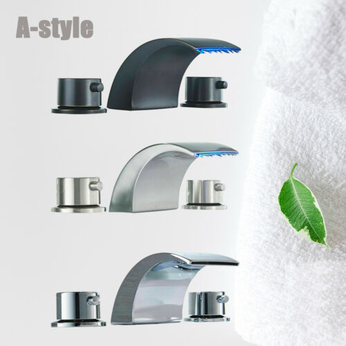 """Widespread 8/"""" LED Bathroom Sink Faucet 2 Handle 3Holes Waterfall Basin Mixer Tap"""