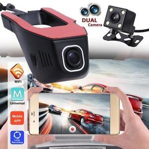HD 1080P Wifi Auto Hidden DVR Video Recorder Dash Cam Night Vision + Rear Camera