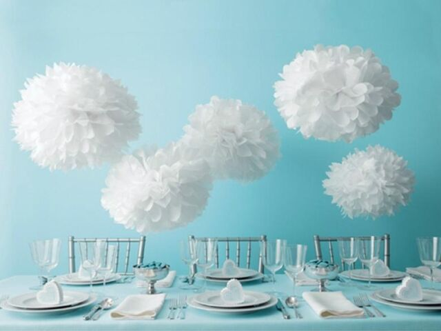 White Tissue Paper Pompoms For Wedding Party Decorations x10