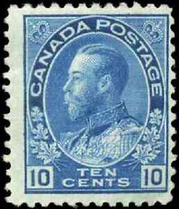 Canada-117-mint-F-OG-HR-DG-1922-King-George-V-10c-blue-Admiral-Wet-Printing