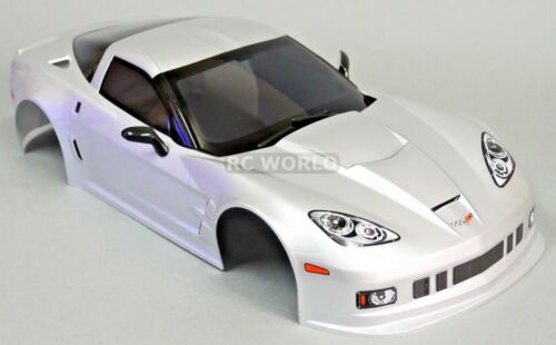 1//10 RC Car BODY Shell CHEVY CORVETTE 190mm SILVER FINISHED