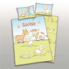 Baby Bettwäsche Bauernhoftiere Mit Namen Bestickt Bettwäschegarnituren