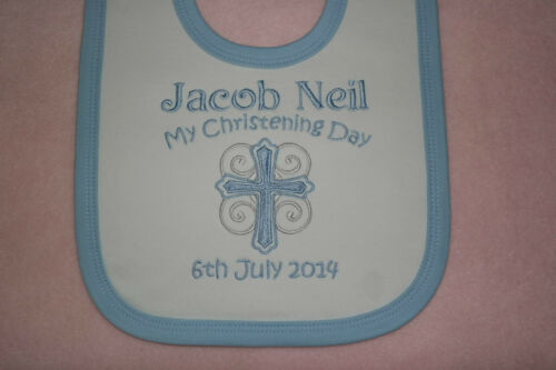 Personalised Christening Baby Bib choice of colours