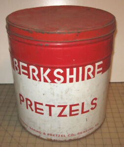 "Vintage BERKSHIRE PRETZELS Large 13.5"" Tall Empty Red/White Tin - Reading, PA"