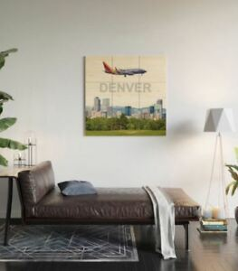Details About Southwest Airlines 737 New Colors Over Denver Art 3 X 3 Wood Wall Art