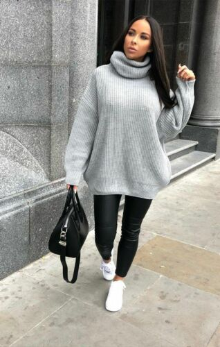 Ladies Chunky Knitted Womens Long Sleeve Oversized Roll Neck Jumper Dress Top