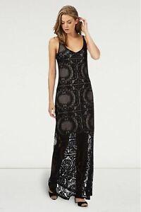 JULIEN-MACDONALD-Black-Lace-Maxi-Party-Dress-Long-Sleevless-RRP-69
