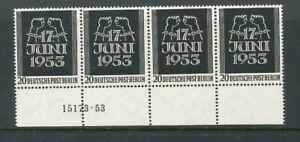 Luxus-Berlin-Michel-Nr-110-als-4er-Unterrand-mit-HAN-Nummer-postfrisch