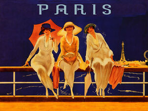 Ladies-Paris-France-French-Eiffel-Tower-Travel-Vintage-Poster-Repro-FREE-SHIP
