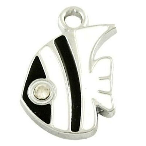 5 x 15x18mm black and white Fish Zinc Alloy Enamel Charm Pendants A0765