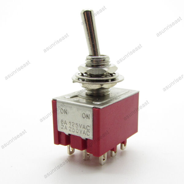 5×Mini Toggle Switch 3PDT 2 Position ON-ON 9-PIN 250V 2A 120V 5A Red MTS-302