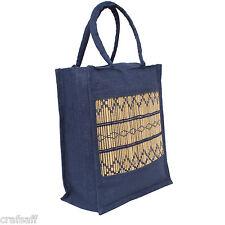Saffron Craft Blue Large Jute Lunch Bag