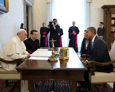 PRESIDENT BARACK OBAMA PRIVATE AUDIENCE WITH POPE FRANCIS - 8X10 PHOTO (DA-466)