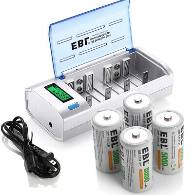 4x C Size Rechargeable Batteries W Lcd Aa Aaa C D Cell 9v Nimh Battery Charger 747180885446 Ebay