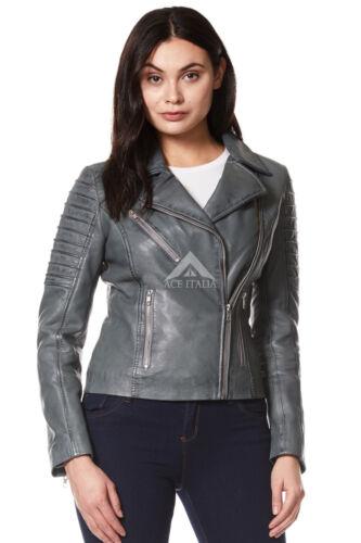 Stilfuld Jacket Designer Fashion Soft Real Style Biker Leather Ladies Grå 9334 qgPOwI