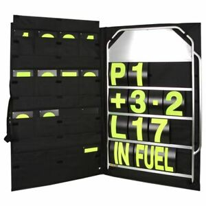 BG-Racing-Large-4-Row-Pit-Board-Kit-Pit-Board-Yellow-Numbers-Bag
