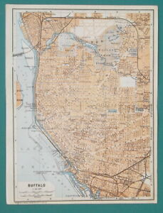 BUFFALO-Town-Plan-New-York-State-1909-MAP-Baedeker-6-x-8-034-15-x-20-cm