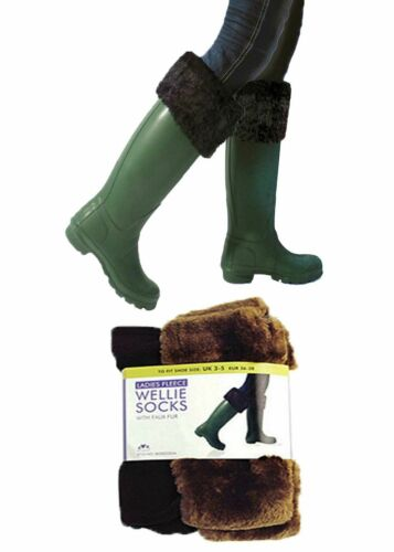 Ladies Undercover Fleece Wellington Boot Liner Wellie Socks Faux Fur Fairisle 28
