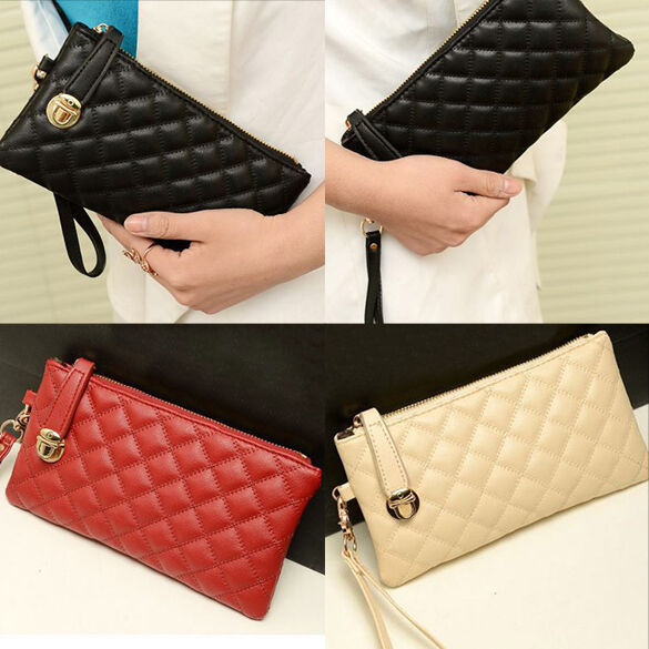 New Fashion Womens Ladies PU Leather Clutch Case Zip Handbag Wallet Purse Bags