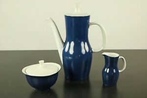 Tischkern-Thomas-Finlandia-Tapio-Wirkkala-Porzellan-blau-60er-Kanne-Milch-Zucker