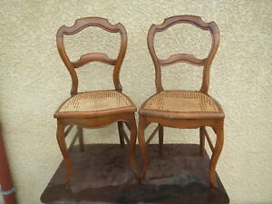 2-Old-Beautiful-Chairs-Louis-Philippe-Period-Caning-Seat-Antique