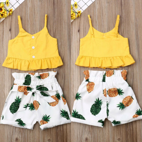 Toddler Kid Baby Girl Tops T-Shirt Pineapple Shorts Pants Outfits Clothes Summer