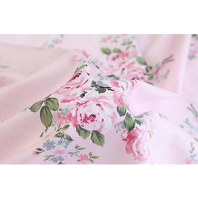 100% Cotton Shabby Chic Pink Floral Flower Rose Fabric By the Yard