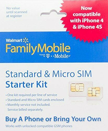Walmart Family Mobile Standard and Micro SIM Card Starter Kit by T-Mobile