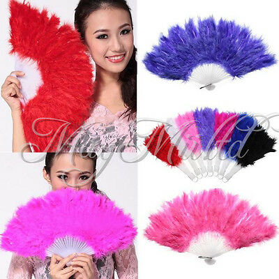 Soft Fluffy Lady Burlesque Wedding Hand Fancy Dress Costume Dance Feather Fan J