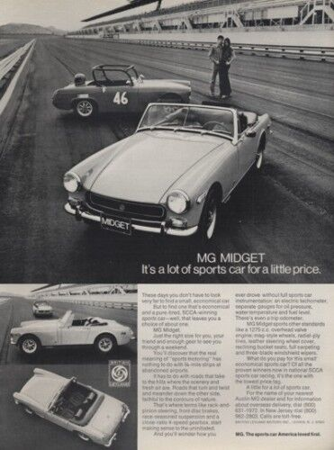 Race track Classic Vintage Advertisement Ad 1972 MG Midget G4