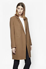 French Connection Imperial Wool camel coat jacket 80% wool size 16 UK 44 Eur