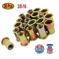 30pcs 38 16 Rivet Nuts Zinc Plated Carbon Steel Nut Flat Head Threaded Insert