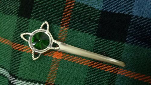 "Celtic Kilt Pin Green Stone Antique Finish 4/"" Scottish Pins /& Brooches Metal"