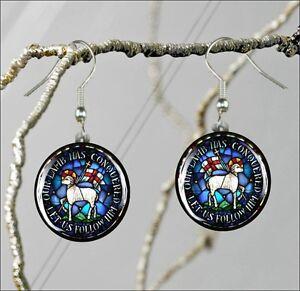 LAMB-OF-GOD-MORAVIAN-SEAL-15-ROUND-GLASS-EARRINGS-er4z