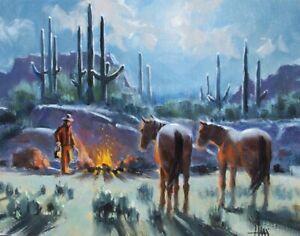 "TOM HAAS (b.1952) 'Time for Oats' oil 11""x14"" Southwest landscape cowboy horses"