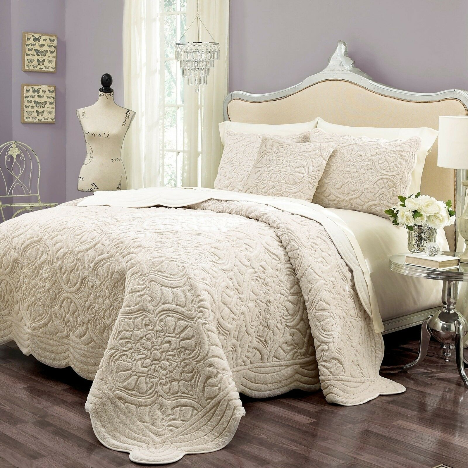 Elegant Ivory Faux Mink Fur Embroidery King Queen 3 pcs Coverlet Set