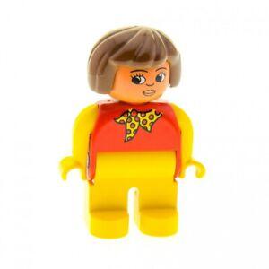 1x-Lego-Duplo-Figur-Frau-gelb-rot-Halstuch-Haare-braun-4555pb142